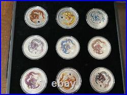 2012 Australia Perth Lunar Series Year Dragon. 999 silver Nine-Coin Colored Set