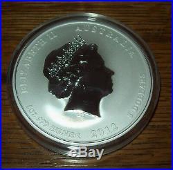 2012 Australia Red Dragon 5 oz. Silver $8 Dollar Lunar Coin Colorized in Capsule