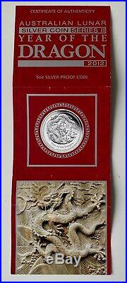2012 Australia S$8 Chinese Lunar Dragon 5oz Silver Proof Coin NGC PF70 UCAM FR