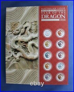 2012 Australia Silver Coloured 1oz coin x 10 Year of the Dragon in Case / COA