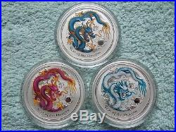 2012 Australia Silver Dragon Lunar Series II BU 1 OZ Colorized (Set of 9 Coins)