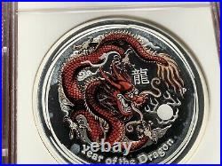 2012 Australia Silver Proof 1oz Colourised Year Of The Dragon $1 Coin NGC PF70