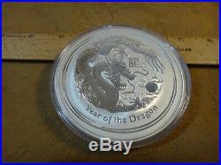 2012 Australia Ten Dollars 10 Ounce. 999 Fine Silver Coin Year Of The Dragon