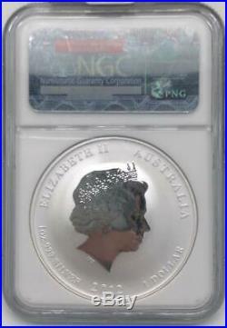 2012 Australia White-Blue Colorized Silver $1 Dragon Coin NGC MS69
