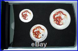 2012 Australia Year of the Dragon Coloured 1/2oz, 1oz & 2oz Silver Coin Set