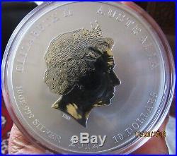 2012 Australia Year of the Dragon Lunar Series II 10 oz. 999 Silver Coin BU