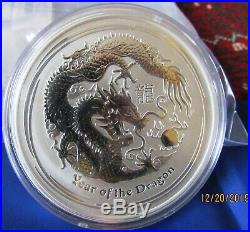 2012 Australia Year of the Dragon Lunar Series II 10 oz. 999 Silver Coin BU