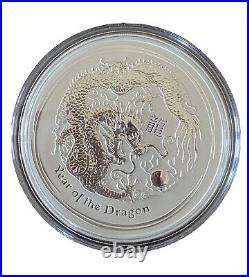 2012 Australia Year of the Dragon Lunar Series II 5 oz. 999 Silver Bullion Coin