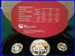 2012 Australia Year of the Dragon Three Coin Gold Proof Set (1oz, 1/4oz, 1/10oz)