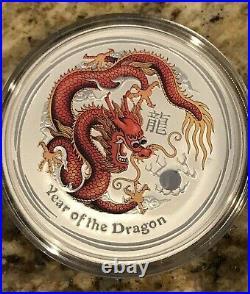 2012 Australia Year of the Dragon large 5 oz Silver Colorized Bullion Coin + BOX