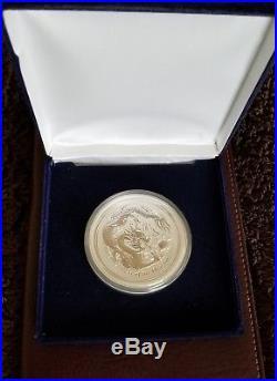 2012 Australian 5 oz. 999 Silver Lunar Year of the Dragon Perth Mint-BU, Gift box