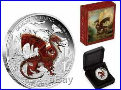2012 Australian Dragons Of Legend Red Welsh Dragon First Coin Silver 1 Oz