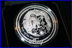 2012 Australian Lunar Proof Dragon Silver Coin 5 OZ Low mintage 5000! Scarce