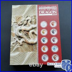 2012 Australian Lunar Series II Year Of The Dragon 10 Coloured Coin Silver Set