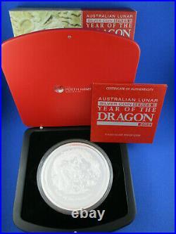 2012 Australian Lunar Series II Year of the Dragon 1 Kilo Silver Proof Coin
