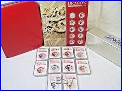 2012 Australian Lunar Year of the Dragon 10 Coin Set #1688 Complete NGC MS68-70