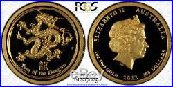 2012 Australian Lunar Year of the Dragon Gold/Silver High Relief Set PCGS PR69