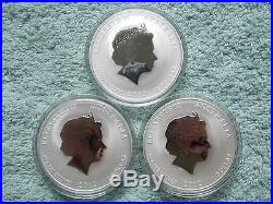 2012 Australian Silver Dragon Lunar Series II BU 1 OZ (Set of 7 Colorized Coins)