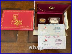 2012 China Dragon one ounce pure silver And 1/3 ounce pure gold fan coin set