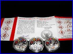 2012 Congo FU LU SHOU Year of the DRAGON 3x1 Oz Silver Proof Coin Set