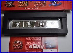 2012 Cook Islands 1$ Year of the Dragon Rectangle Proof 4 x 1 Oz Silver Coin Set
