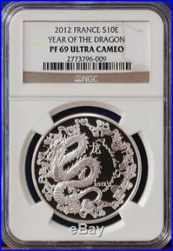 2012 France Silver 10 euro Dragon Proof Coin NGC PF69