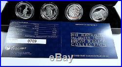 2012 HIGH RELIEF FOUR Coin Silver Set Dragon Kookaburra Koala Kangaroo Unique