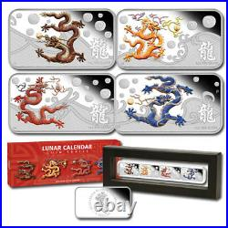 2012 Lunar Year Of The Dragon 1oz Silver Rectangle Four Coins Proof Set Coa# 578