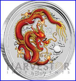 2012 Lunar Year Of The Dragon 5 Oz. Silver Coin Colorized Bullion Coin