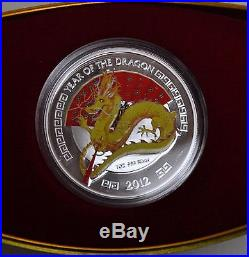 2012 Niue $2 New Zealand Mint Year of the Dragon 1oz Silver Proof Gilded Coin