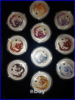 2012 P $1 Australian Lunar 10 Silver Coin Set Series 2. Year of the Dragon