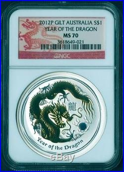 2012 P AUSTRALIA Silver GILT Coin Lunar YEAR DRAGON NGC MS 70 $1 red label