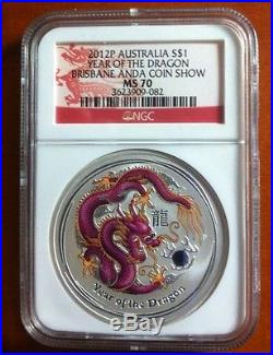 2012- P AUSTRALIA YEAR OF THE DRAGON BRISBANE COIN SHOW NGC MS70 Free Shipping