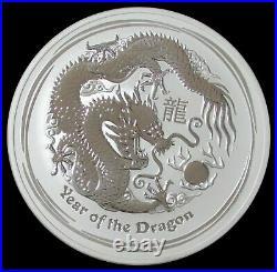 2012 P Silver Australia 10 Oz Lunar Year Of The Dragon $10 Coin