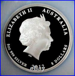 2012 P Silver Australia 5 Oz Coin Ngc Proof 70 Uc Fr $8 Lunar Year Of Dragon