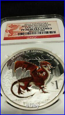 2012-P Tuvalu Red Welsh Dragon 1oz Silver Coin NGC PF70 UC ER