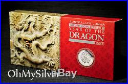 2012 PERTH MINT LUNAR DRAGON 1/2+1+2 oz SILVER 3-COIN PROOF SET ONLY 1000 MADE