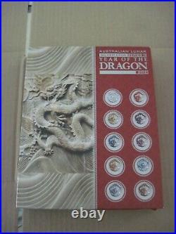 2012 Perth Australia Lunar Series 2 Colored Dragon 1oz Silver 10 Coin Set /2500