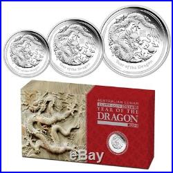2012 Perth Mint Lunar Dragon Silver Proof 3 Coin Set (2oz, 1oz, 1/2oz)