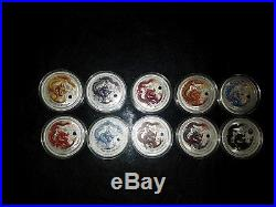 2012 Perth mint colorized dragon silver set of 10 1oz coins