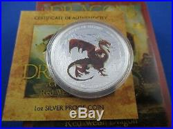 2012 TUVALU RED WELSH DRAGON $1 SILVER PROOF COIN BOX + COA by The PERTH MINT