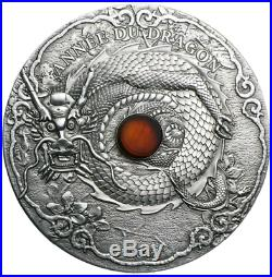 2012 Togo Year of the Dragon 2oz. 999 Silver Coin with REAL AMBER with COA