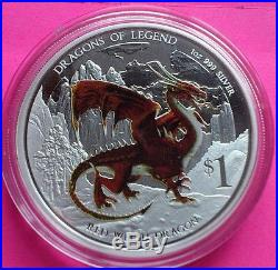 2012 Tuvalu Silver Red Welsh Dragon $1 One Dollar Proof Coin Box + Coa