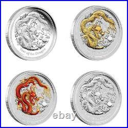 2012 Typeset Lunar Silver Dragon Coin Series II Year Of The Dragon Coa# 401