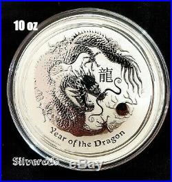2012 YEAR OF THE DRAGON 10 oz SILVER COIN BULLION 999 LUNAR SERIES 2 PERTH MINT