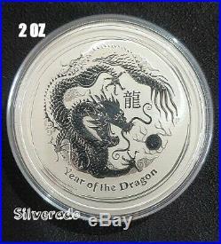 2012 YEAR OF THE DRAGON 2 oz SILVER COIN BULLION 999 LUNAR SERIES 2 PERTH MINT