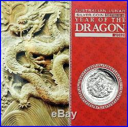 2012 YEAR OF THE DRAGON LUNAR 5oz PURE SILVER Proof Coin