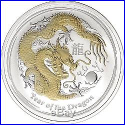 2012 Year of the Dragon 1 oz Gilded Silver Coin (SII) (Capsule)