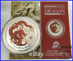 2012 Year of the Dragon 2oz Silver Coloured Australian Coin Perth ANDA Coin Show