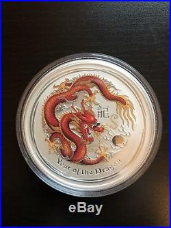 2012 Year of the Dragon 5 OZ Colored Red Silver Coin Perth